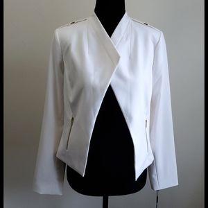 Calvin Klein cream blazer with two zipper pockets